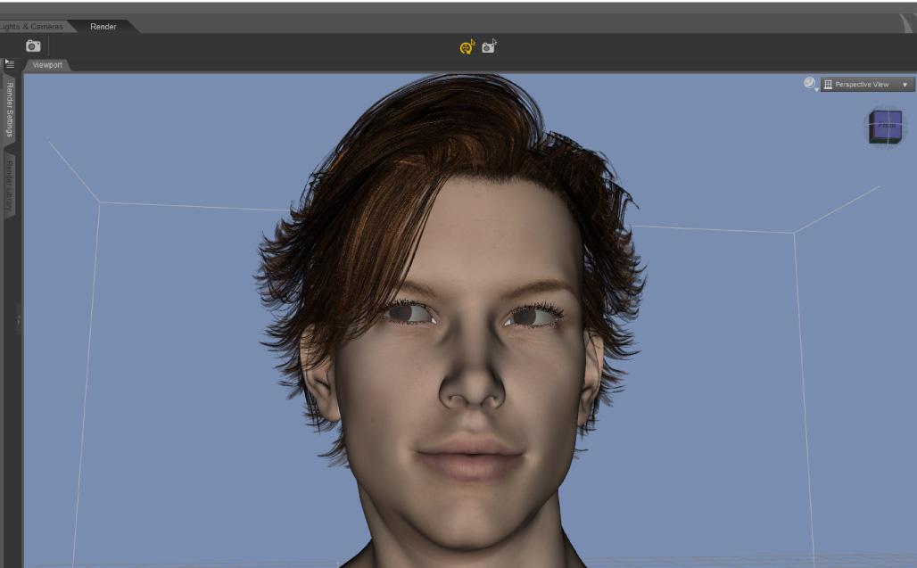 【Daz Studio】10分でワイルド美青年の顔アップ