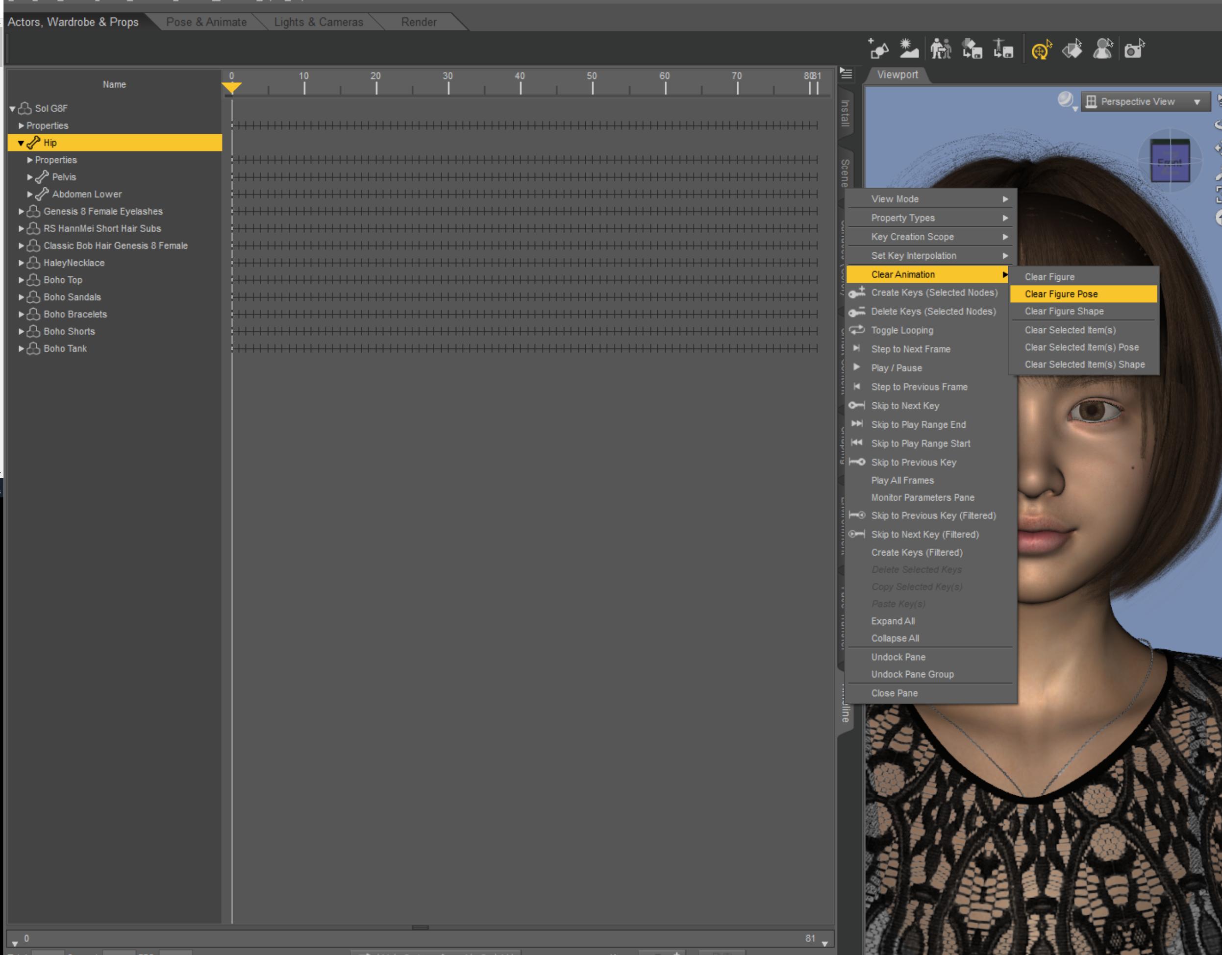Dazstudioのアニメーションでキーフレームを一括で削除する方法